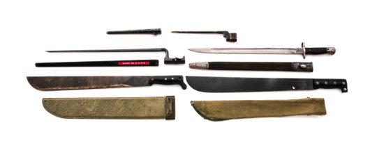 Lot of 3 Bayonets & 2 Machetes