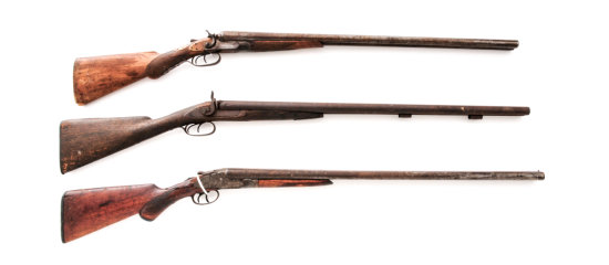 Lot of 3 Antique Relic Double Barrel Shotguns