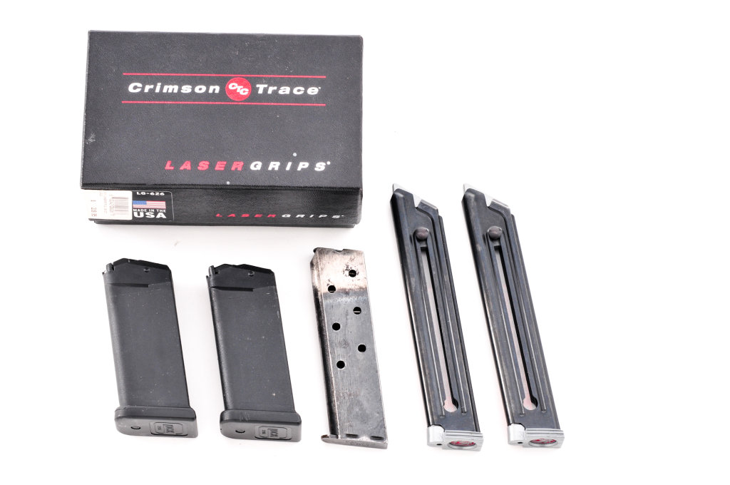Lot: Crimson Trace Grips & Misc. Magazines