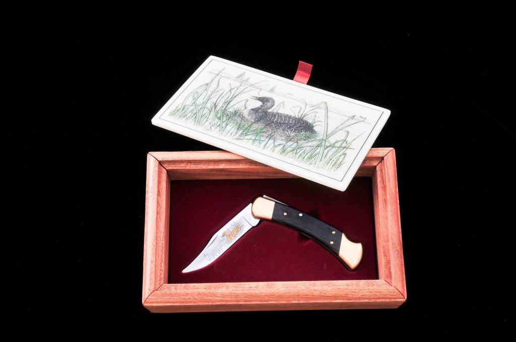 Ltd. Ed. Gold Etched Buck M.110 Knife