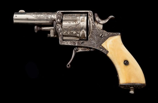 Eng'd Belgian Folding Trigger Double Action Revolver
