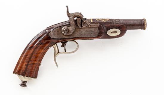 Silver/Gold Inlaid German Perc. Belt Pistol