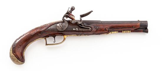 Fancy German Chiseled and Carved Flintlock Pistol
