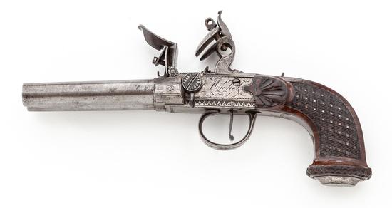 Belgian Double Barrel Flintlock Pistol - Berleur