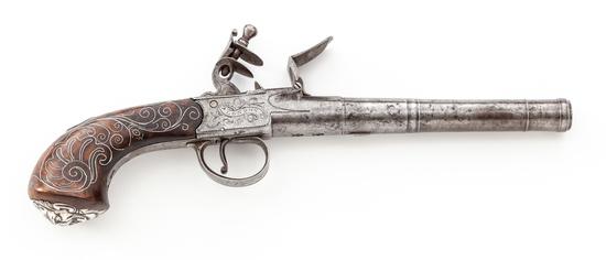 English Flintlock Screw-Barrel Pistol, by Bunney