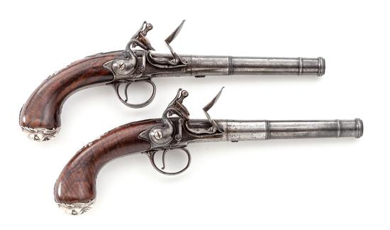 Fine Pair of Queen Anne Flintlock Pistol - Bumford