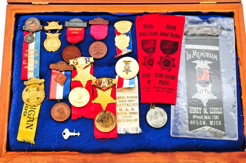 Lot: Lot of 14 GAR Encampment Ribbons and Medals | Proxibid Auctions