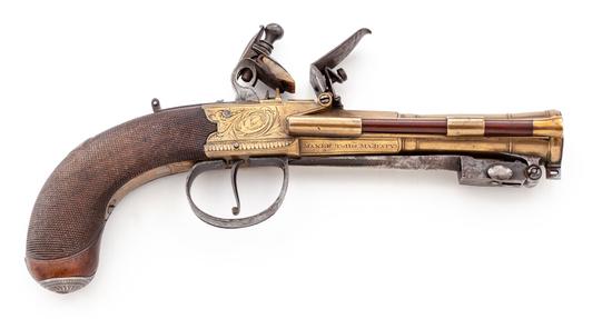 W. Parker Brass Frame Flintlock Pistol, w/bayo.