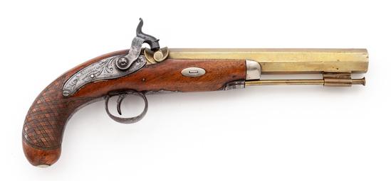19th Century Brass Barreled Percussion Pistol