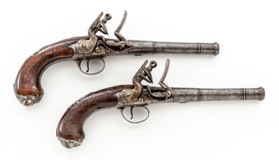 Pair of Queen Anne Style Flintlock Pistols