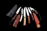 Lot of Six (6) Custom Fixed Blade Knives