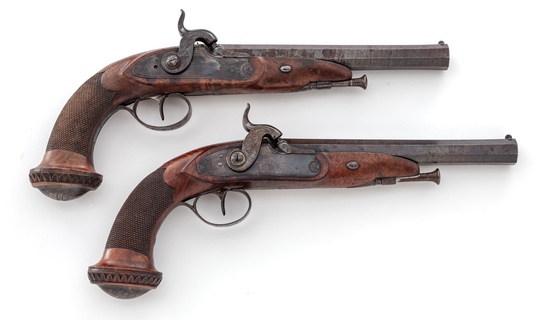 Pair of Antique Belgian Large Bore Perc. Pistols