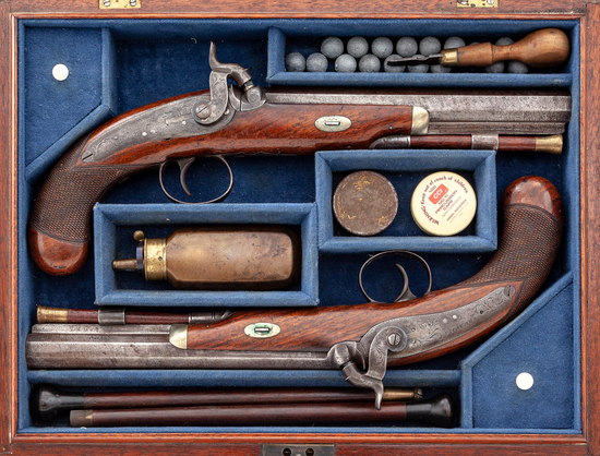 Antique Matched Pair of English Perc. Belt Pistols