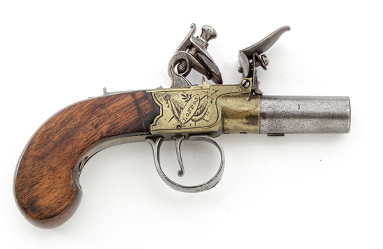 Antique English Lg. Bore Boxlock Flintlock Pistol