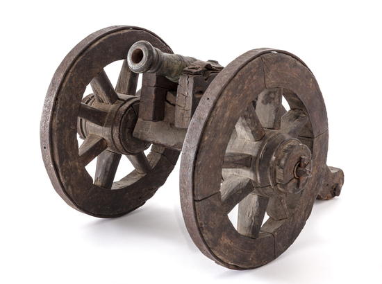 Small Firing Model of a Bronze Cannon, with Carria