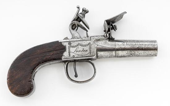 Antique English Boxlock FL Pocket/Muff Pistol