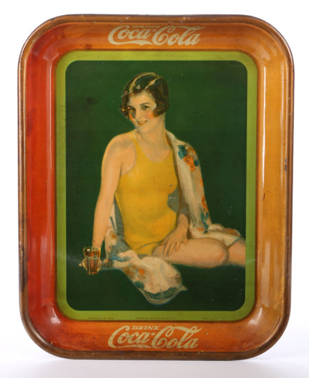 Original 1929 Coca-Cola Swimsuit Pin-up Tray