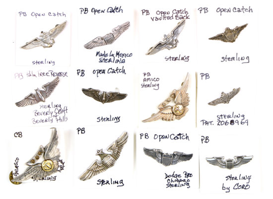 U.S. Military Sterling Wing Pins (12)