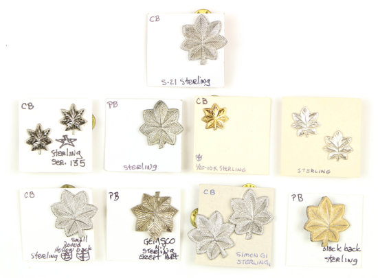 U.S. Military Sterling Maple Leaf Pins (12)