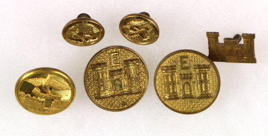 U.S. Army Corps. Of Engineers Pins (3) & Buttons (3)