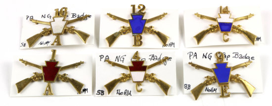 Pennsylvania National Guard Cap Badges (6)