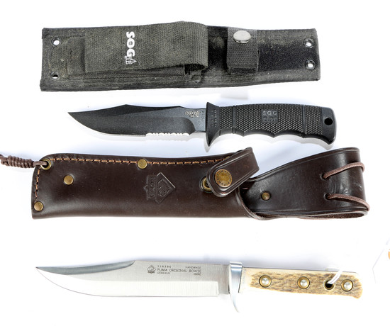 Puma and SOG Seal Pup Knife in Sheaths