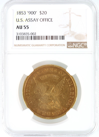 "1853 ""900"" $20 U.S. Assay Office"