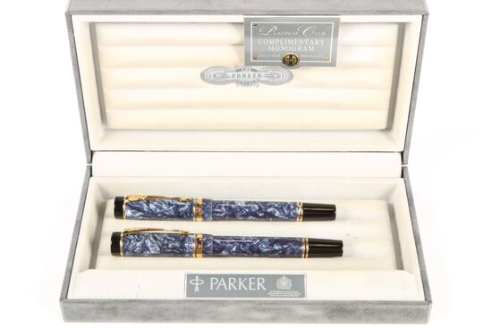 Parker Duo Fold Platinum Club Pen Set 1988
