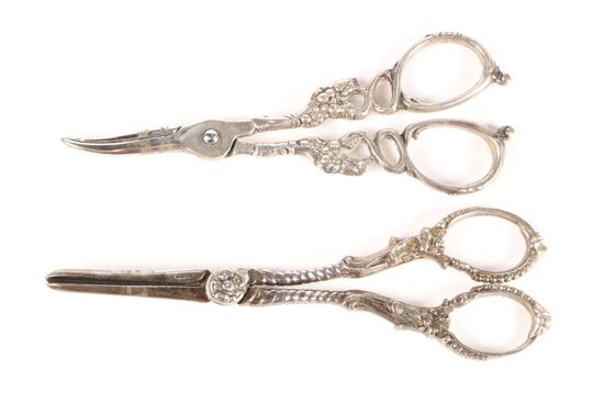 Two Sterling Grape Scissors
