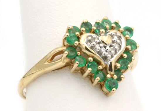 10K Gold & Emerald Heart Ring