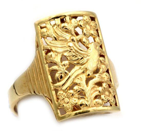 14K Gold Peacock Ring