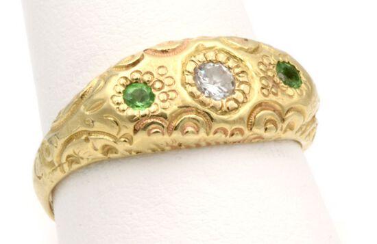 14K Gold w/Diamond & Aventurine Ring