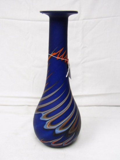Art Glass Vase. Frosted Orange & Blue Slage Glass. 15.5in Tall. Excellent Condition.