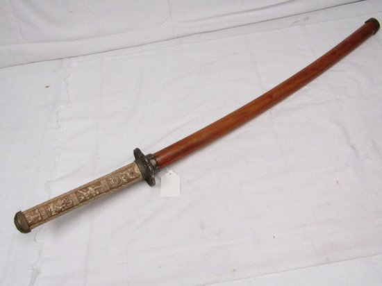 """Asian Inspired Decorative Sword w/Wood Sheath. Overall Approx 35"""" Long. Blade Approx 24"""" Long."""