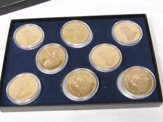 South Africa Krugerrand (2012) Fine Gold Clad Commemorative Copy Coins. 8 Coins.