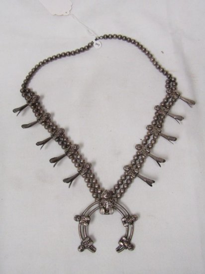 "Native American Sterling Silver Squash Blossom Necklace. 326 176G. Approx 28"" Long."