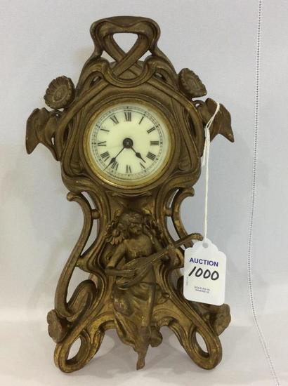 Ornate Brass Figural Clock w/ Lady &