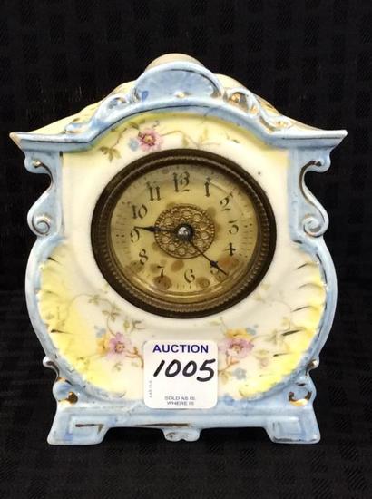 Sm. Blue Floral Painted Porcelain Clock