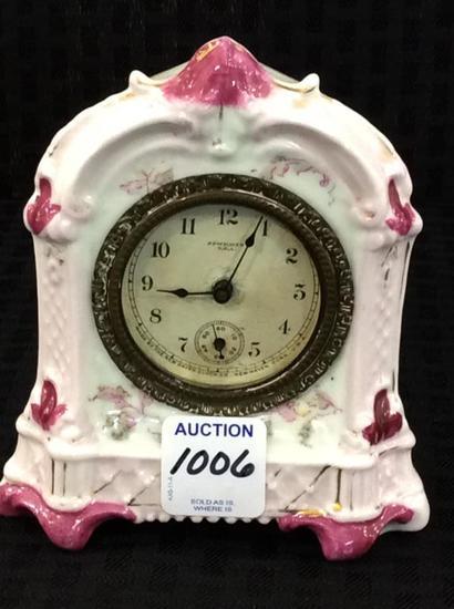 Sm. Pink Floral Painted New Haven Porcelain Clock