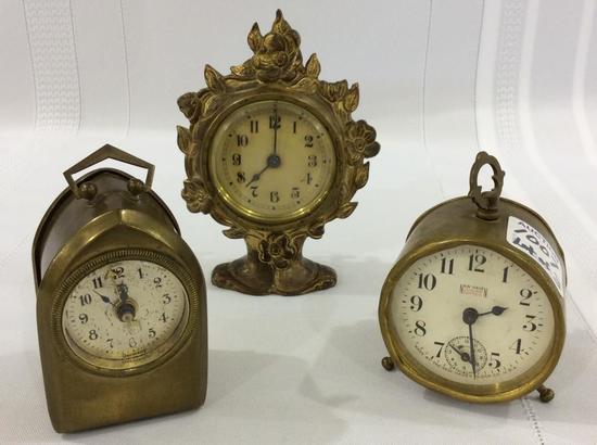 Lot of 3 Miniature Brass Bedroom Clocks