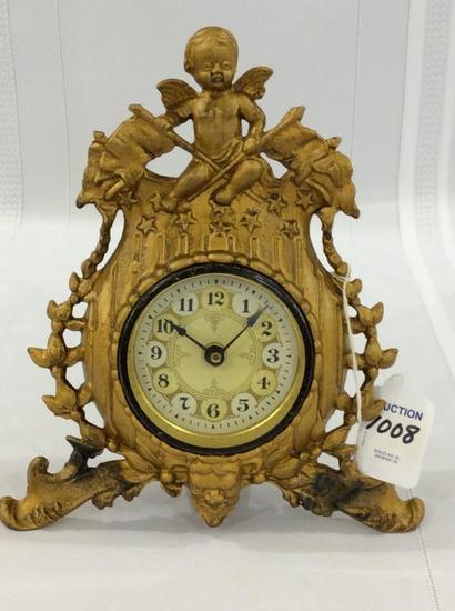 Sm. Ornate Brass Bedroom Clock w/