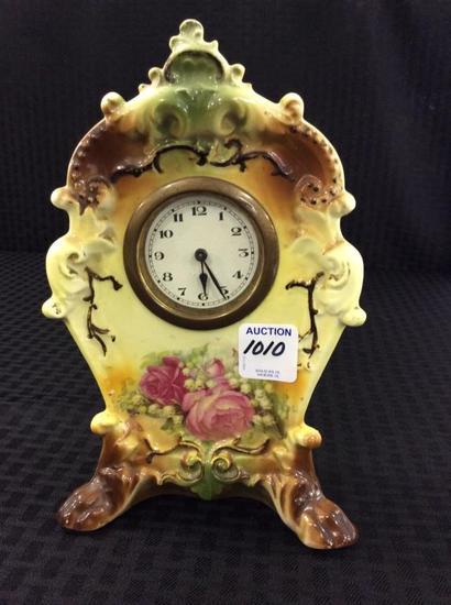 Sm. Floral Painted  Porcelain Clock
