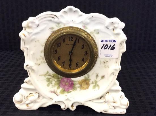 Sm. New Haven Floral Paint Porcelain Clock