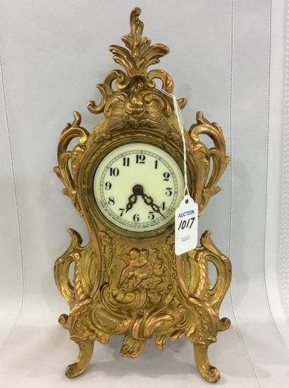 Sm. Ornate Brass New Haven Clock w/ Angel Cupid