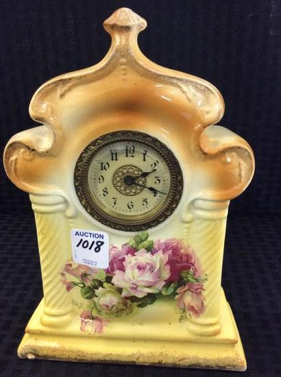 Sm. FLoral Paint Porcelain Clock
