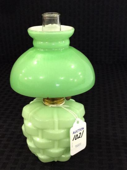 Green Basketweave Design Miniature Kerosene