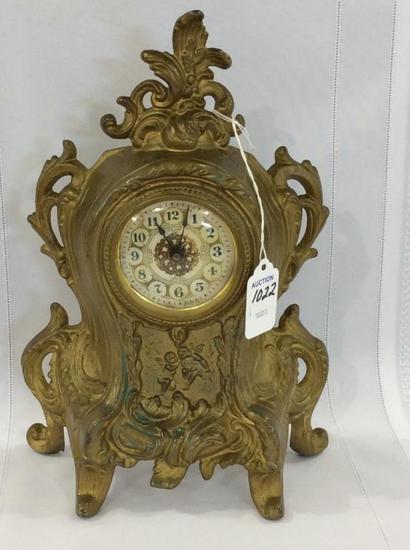 Sm. Ornate Brass Bedroom Clock w/ Cupid