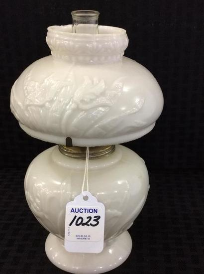 Sm. White Floral Embossed Dbl Globe