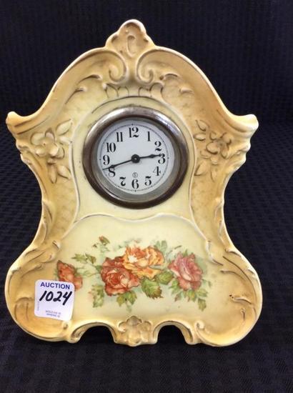 Sm. Floral Paint Porcelain Bedroom Clock