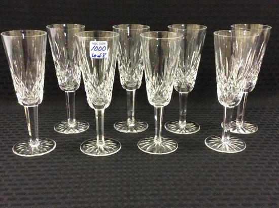Lot of 8 Waterford Crystal Stemmed Flutes